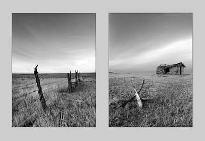 Old Cabins Photograph - Choteau Diptych by Leland D Howard