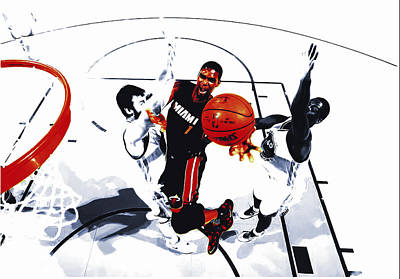 Lebron James Mixed Media - Chris Bosh by Brian Reaves