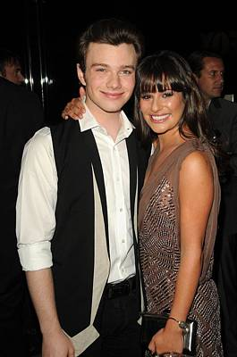 Chris Colfer, Lea Michelle At Arrivals Print by Everett