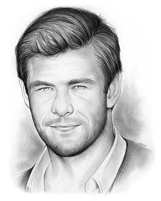 Thor Drawing - Chris Hemsworth by Greg Joens