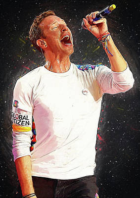 Coldplay Digital Art - Chris Martin - Coldplay by Semih Yurdabak