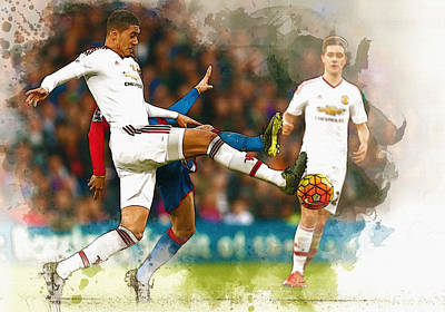 Wayne Rooney Digital Art - Chris Smalling  In Action  by Don Kuing