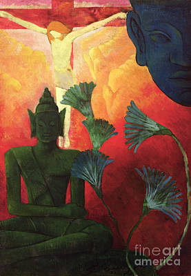 Beliefs Painting - Christ And Buddha by Paul Ranson