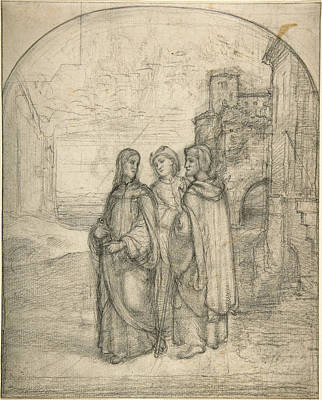 Ferdinand Olivier Drawing - Christ And The Pilgrims Of Emmaus by Johann Heinrich Ferdinand Olivier