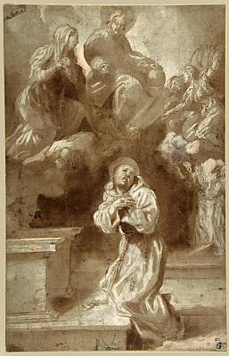 Drawing - Christ And The Virgin Appearing To Saint Francis by Pietro Faccini