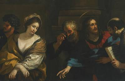 Christ And The Woman Taken In Adultery Print by Pietro