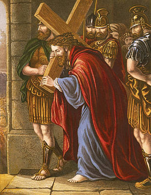 Christ Bearing The Cross Print by English School