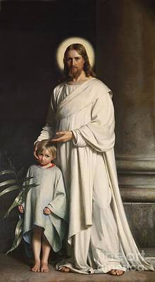 Carl Bloch Painting - Christ Blessing The Little Child by MotionAge Designs