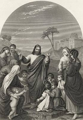 Blessings Drawing - Christ Blessing The Little Children by Vintage Design Pics