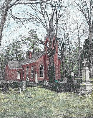 Drawing - Christ Church, Kingston Parish, Mathews Va by Stephany Elsworth