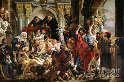 Biblical Scene Painting - Christ Driving The Merchants From The Temple by Jacob Jordaens