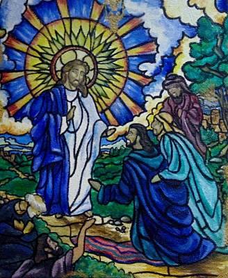 Christ Healing Blind Bartimaeus Print by Antoinette QUEENNETTATITI Allen