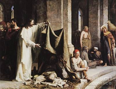 Carl Bloch Painting - Christ Healing The Sick At The Pool Of Bethesda by MotionAge Designs