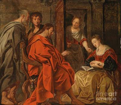Martha Mary Painting - Christ In The House Of Mary Martha And Lazarus by Circle of Jacob Jordaens