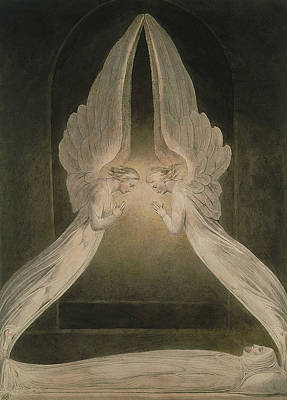 Sepulchre Painting - Christ In The Sepulchre, Guarded By Angels by William Blake