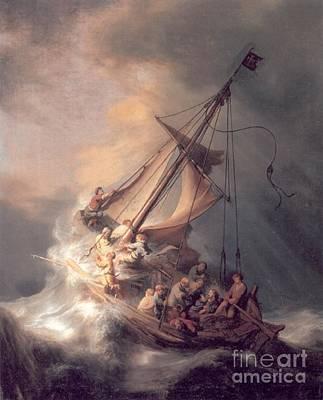 Christ In The Storm Print by Rembrandt Van Rijn
