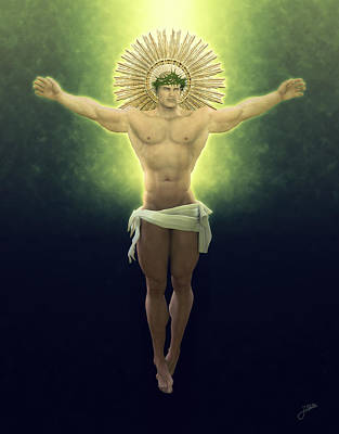 Muscular Digital Art - Christ Of Renewable Energy by Joaquin Abella