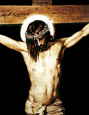 Pirogravura Pyrography - Christ On The Cross - Detail by Dino Muradian