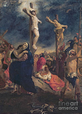 Mary Magdalene Painting - Christ On The Cross by Delacroix