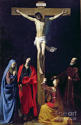Christ On The Cross With The Virgin Mary Magdalene St John And St Francis Of Paola Print by Nicolas Tournier