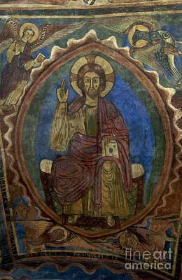 Columns Photograph - Christ Pantocrator Fresco. Basilica Saint-julien. Brioude. Haute Loire. Auvergne. France. by Bernard Jaubert