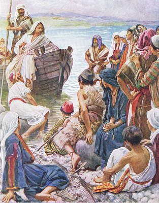 New Testament Drawing - Christ Preaching From The Boat by Harold Copping