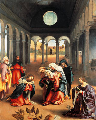 Christ Taking Leave Of His Mother Print by Lorenzo Lotto