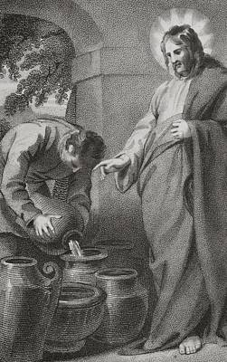 Miraculous Drawing - Christ Turning Water Into Wine, From by Vintage Design Pics