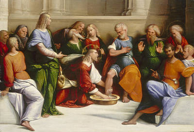 Benvenuto Tisi Painting - Christ Washing The Disciples' Feet by Benvenuto Tisi