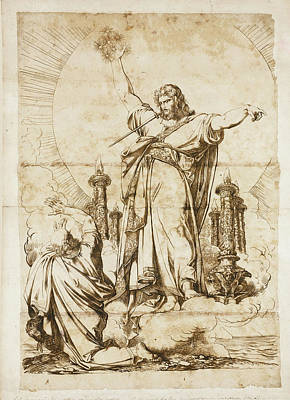 Luigi Sabatelli Drawing - Christ With A Sword Emerging From His Mouth by Luigi Sabatelli