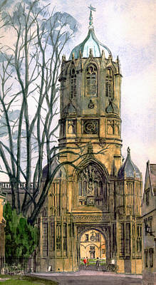 Wren Painting - Christchurch College Oxford by Mike Lester