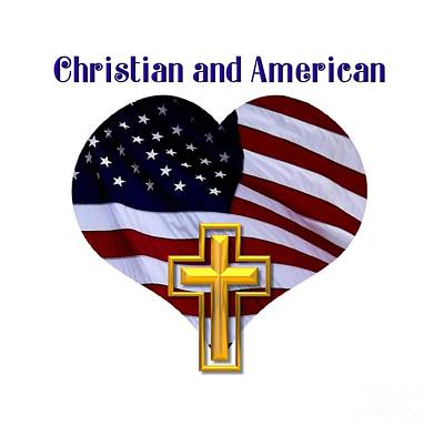 Christian And American Flag With Golden Cross Print by Rose Santuci-Sofranko
