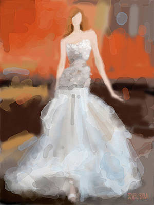 Digital Painting - Christian Siriano Grey Dress Fashion Illustration by Beverly Brown