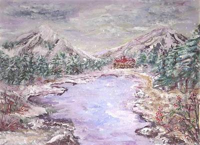 Painting - Christman In The Mountains  by Mary Sedici