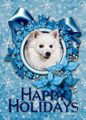 Breed Digital Art - Christmas - Blue Snowflakes American Eskimo by Renae Laughner