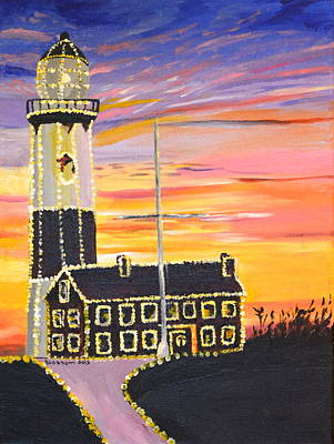 Christmas At The Lighthouse Print by Donna Blossom