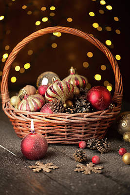 With Red. Photograph - Christmas Basket With Red And Golden Ornaments by Vadim Goodwill