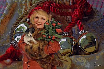Puppy Mixed Media - Christmas Bells by Julie Grace