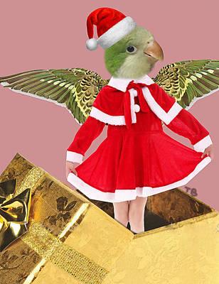 Parakeet Digital Art - Christmas Bird by Tina Bologna