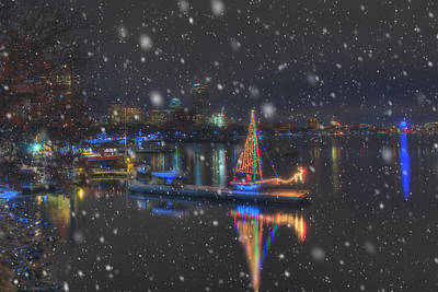 Christmas Boat On The Charles River - Boston Print by Joann Vitali