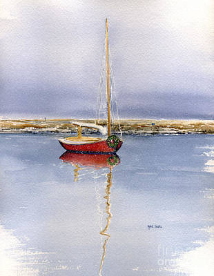 Winter Scenes Painting - Christmas Cat Boat by Heidi Gallo