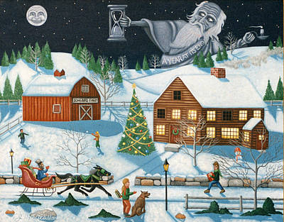 Horse In The Run Painting - Christmas Cheer In Southern Vermont by Joshua Mac Allistar