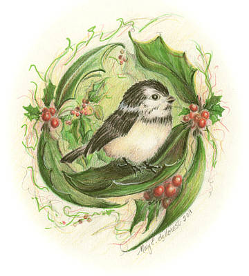Holly Mother Painting - Christmas Chickadee by Mary Baidenmann