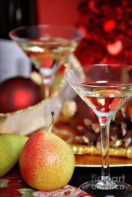 Table Wine Photograph - Christmas Cocktails by HD Connelly