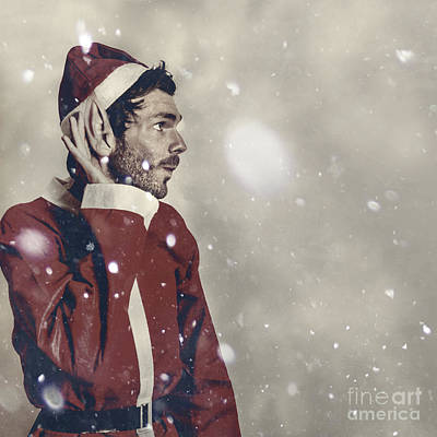Christmas Elf Hearing In The New Year Celebrations Print by Jorgo Photography - Wall Art Gallery