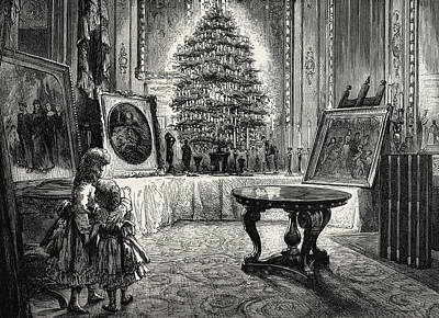 Christmas Tree Drawing - Christmas Eve At Windsor Castle by English School