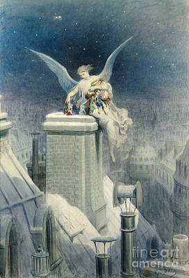 Snowy Night Painting - Christmas Eve by Gustave Dore