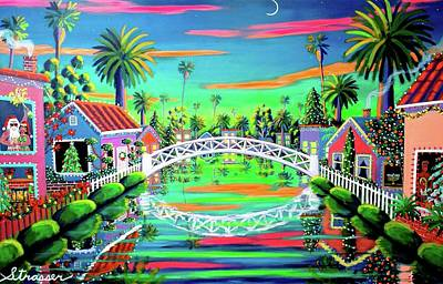 Venice Beach Painting - Christmas Eve On Retro Canal by Frank Strasser