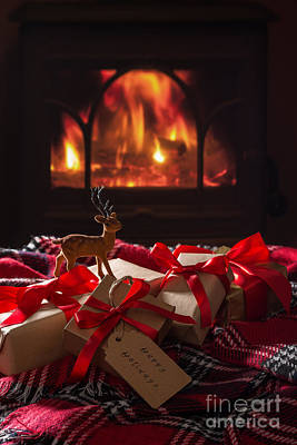 Christmas Gifts By The Fire Print by Amanda Elwell