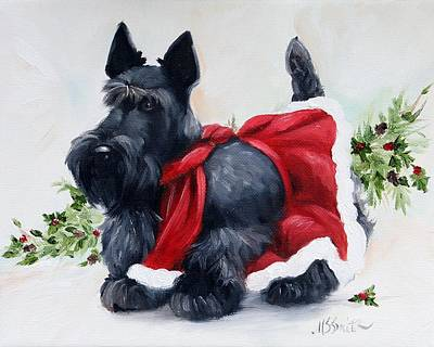 Scottish Dog Painting - Christmas  by Mary Sparrow